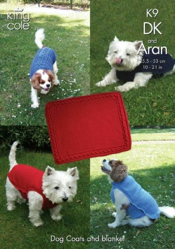 Dog Blankets and Coats Knitting Pattern , King Cole K9, , Small dog coats, dog accessories, dog knit
